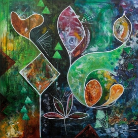 Green I, 80x80 Acryl auf Canvas